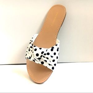 Polka Dot Sandals White - Fabric Knotted Mules